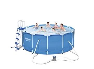 bestway steel pro frame pool set mit filterpumpe zubeh r 366 x 122cm gartenpool. Black Bedroom Furniture Sets. Home Design Ideas