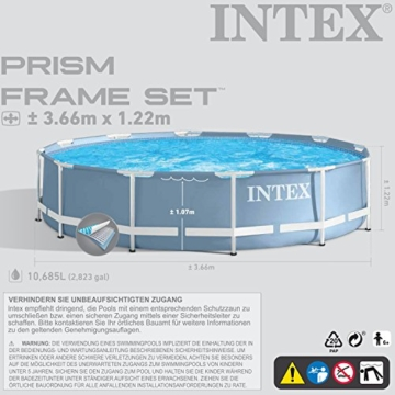 intex 366x122 cm schwimmbecken swimming pool schwimmbad frame metal 28904 gartenpool. Black Bedroom Furniture Sets. Home Design Ideas