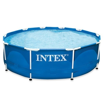 intex aufstellpool frame pool set rondo ohne filterpumpe blau 305 x 76 cm gartenpool. Black Bedroom Furniture Sets. Home Design Ideas
